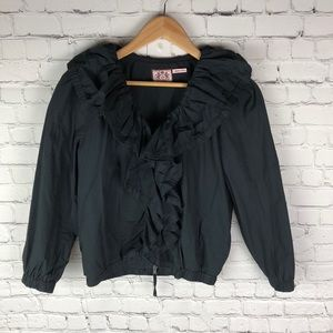 Juicy Couture Black Ruffled Wind Breaker
